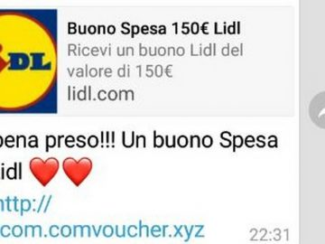 buono spesa 150 euro su whatsapp del lidl